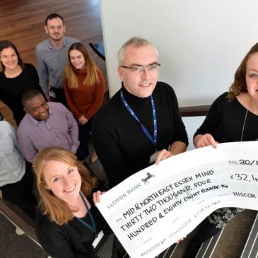 A year of dedicated fundraising from Hiscox boosts Mid and North East Essex Mind